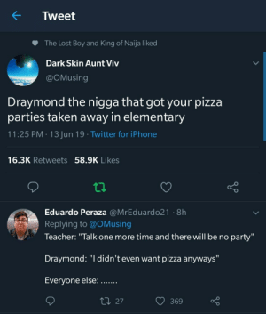 "Aunt Viv, Dank, and Iphone: K  Tweet  The Lost Boy and King of Naija liked  Dark Skin Aunt Viv  @OMusing  Draymond the nigga that got your pizza  parties taken away in elementary  11:25 PM 13 Jun 19 Twitter for iPhone  16.3K Retweets 58.9K Likes  Eduardo Peraza @MrEduardo21 8h  Replying to @OMusing  Teacher: ""Talk one more time and there will be no party""  Draymond: ""I didn't even want pizza anyways""  Everyone else:  t27  369 Thats not a foul, thats all ball by kamekaze1024 MORE MEMES"