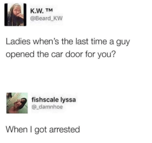 Chivalry isn't dead by PharmSystem MORE MEMES: K.W. TM  @Beard KW  Ladies when's the last time a guy  opened the car door for you?  fishscale lyssa  @_damnhoe  When I got arrested Chivalry isn't dead by PharmSystem MORE MEMES