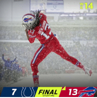 FINAL: The snow day ends with a @buffalobills overtime WIN! #GoBills  #INDvsBUF ❄️ https://t.co/THovLazWif: K14  FINAL  13  OVERTIME FINAL: The snow day ends with a @buffalobills overtime WIN! #GoBills  #INDvsBUF ❄️ https://t.co/THovLazWif