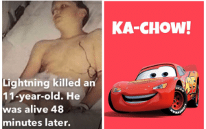 Alive, Meme, and Lightning: KA-CHOW!  Lightning killed an  11-year-old. He  was alive 48  minutes later.  VEAR  OMEVERS  LIGHTY Made this meme tell me what you think upvote it if you like it and downvotr if you dont