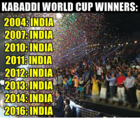 Memes, World Cup, and India: KABADDI WORLD CUP WINNERS  2004 INDIA  INDIA  2010: INDIA  2011 INDIA  2012 INDIA  2013 INDIA  2014: INDIA  2016:INDIA Inventors and World Champions #India for you !! Kabaddi Worldcup