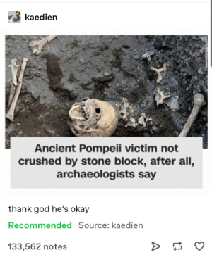 Huzzah!: kaedien  Ancient Pompeii victim not  crushed by stone block, after all,  archaeologists say  thank god he's okay  Recommended Source: kaedien  133,562 notes Huzzah!
