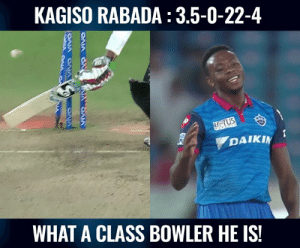 What a brilliant spell by Kagiso Rabada.  (Pic : Hotstar): KAGISO RABADA : 3.5-0-22-4  DAIKI  WHAT A CLASS BOWLER HE IS What a brilliant spell by Kagiso Rabada.  (Pic : Hotstar)