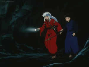 kagomesdestiny:  1) inuyasha grabbing miroku's arm 2) inuyasha is USING A FLASHLIGHT  3) miroku has no idea what's going on : kagomesdestiny:  1) inuyasha grabbing miroku's arm 2) inuyasha is USING A FLASHLIGHT  3) miroku has no idea what's going on