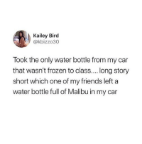 Friends, Frozen, and Memes: Kailey Bird  @kbizzo30  Took the only water bottle from my car  that wasn't frozen to class.... long story  short which one of my friends left a  water bottle full of Malibu in my car uh oh