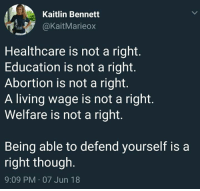Memes, Abortion, and Living: Kaitlin Bennett  aKaitMarieox  Healthcare is not a right.  Education is not a right.  Abortion is not a right  A living wage is not a right  Welfare is not a right  Being able to defend yourself is a  right though  9:09 PM 07 Jun 18 (GC)
