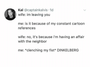 Shut Up, Tumblr, and Blog: Kal @captainkalvis 1d  wife: im leaving you  me: is it because of my constant cartoon  references  wife: no, it's because i'm having an affair  with the neighbor  me: *clenching my fist* DINKELBERG memehumor:  Shut up, Meg..