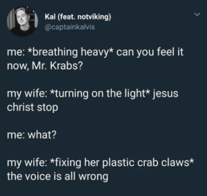 Can you feel it ?: Kal (feat. notviking)  @captainkalvis  me: *breathing heavy* can you feel it  now, Mr. Krabs?  my wife: *turning on the light* jesus  christ stop  me: what?  my wife: *fixing her plastic crab claws*  the voice is all wrong Can you feel it ?