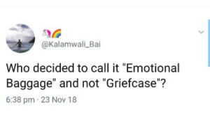 """Its griefcase, y'all by n_unjum MORE MEMES: @Kalamwali_Bai  Who decided to call it """"Emotional  Baggage"""" and not """"Griefcase""""?  6:38 pm 23 Nov 18 Its griefcase, y'all by n_unjum MORE MEMES"""