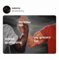 thank you, notes app, for letting me be just like the celebs 💖: kalevira  @radvillainy  the Notes  app  celebs  apologizing  my grocery  list thank you, notes app, for letting me be just like the celebs 💖