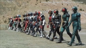 """Endgame is the most ambitious crossover ever.""  Japan: hold my matcha.: Kamen Rider Decade Alu Riders vs, Dai-Shocker ""Endgame is the most ambitious crossover ever.""  Japan: hold my matcha."
