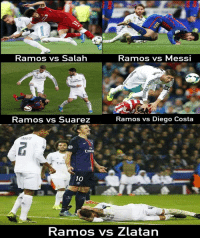 Diego Costa, Memes, and Messi: Kamos vs Salah  Ramos vs MesSI  Emirate  Ramos vs Suarez  Ramos vs Diego Costa  IN  Enira  10  Ramos vs Zlatan The difference..