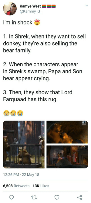 Crying, Dank, and Donkey: Kamye West  @Kammy_G_  I'm in shock  1. In Shrek, when they want to sell  donkey, they're also selling the  bear family  2. When the characters appear  in Shrek's swamp, Papa and Son  bear appear crying  3. Then, they show that Lord  Farquaad has this rug.  LGDV  12:26 PM 22 May 18  6,508 Retweets 13K Likes The tragedy of Shrek by BornNinjaPro FOLLOW HERE 4 MORE MEMES.