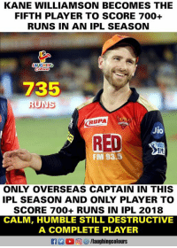 #KaneWilliamson #IPL11 #IPL2018 #IPLfinal #SRHvCSK: KANE WILLIAMSON BECOMES THE  FIFTH PLAYER TO SCORE 700+  RUNS IN AN IPL SEASON  AUGHING  735  RUPA  Jio  RED  PU  FM 93.5  ONLY OVERSEAS CAPTAIN IN THIS  IPL SEASON AND ONLY PLAYER TO  SCORE 700+ RUNS IN IPL 2018  CALM, HUMBLE STILL DESTRUCTIVE  A COMPLETE PLAYER  f /laughingcolours #KaneWilliamson #IPL11 #IPL2018 #IPLfinal #SRHvCSK