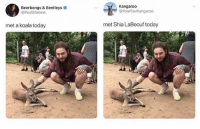 Follow @god 's personal @created: Kangaroo  Beerbongs & Bentleys  @PostMalone  @YourFavKangaroo  met a koala today  met Shia LaBeouf today Follow @god 's personal @created