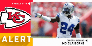 .@Chiefs signing CB Mo Claiborne to one-year deal worth up to $1.5M (via @RapSheet) https://t.co/9efserOEm6: KANSAS CITY  24  ALERT  CHIEFS SIGNING  MO CLAIBORNE .@Chiefs signing CB Mo Claiborne to one-year deal worth up to $1.5M (via @RapSheet) https://t.co/9efserOEm6