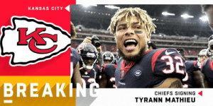 BREAKING: @Chiefs signing S Tyrann Mathieu to three-year, $42 million deal. (via @RapSheet) https://t.co/NWFTnCRJYi: KANSAS CITY  EXANS  BREAKI  CHIEFS SIGNING  TYRANN MATHIEU BREAKING: @Chiefs signing S Tyrann Mathieu to three-year, $42 million deal. (via @RapSheet) https://t.co/NWFTnCRJYi