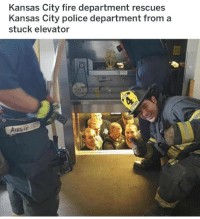 Fire, Police, and Kansas City: Kansas City fire department rescues  Kansas City police department from a  stuck elevator  AusE