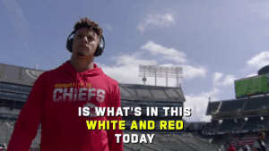 .@PatrickMahomes was Mic'd Up during his ABSURD Week 2 performance for the @Chiefs.🎙🔊   (via @NFLFilms) #NFLMicdUp https://t.co/q3yDnF0l8w: KANSASI 15  CHIEFS  IS WHAT'S IN THIS  WHITE AND RED  TODAY .@PatrickMahomes was Mic'd Up during his ABSURD Week 2 performance for the @Chiefs.🎙🔊   (via @NFLFilms) #NFLMicdUp https://t.co/q3yDnF0l8w