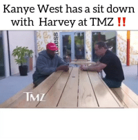Friends, Kanye, and Memes: Kanye West has a sit down  with Harvey at TMZ !!  IMZ kanyewest going off on the 13th amendment 👀 Follow @bars for more ➡️ DM 5 FRIENDS