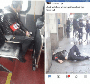 """karadin:  undead-tealeaves: derpyslurpy-da-derp-master:  simonsayssuckmytaint:  catholicorprotestant:  socialistexan:  wynterroseskye:  terrorfoster:  gogomrbrown:   Lovely.   What a punch   This is assault and illegal. He may spew nothing but bile but his right to free speech must be protected  Ain't nobody throwing him in prison, so his freedom of speech isn't being violated.  Also, learn what speech is exempt from it, like, for instance, fighting words. Words that by their very utterance inflict injury, andspeech that incites an immediate breach of the peace, kind of like, yknow, saying you want to exterminate all of their kind of people. Basically, talk shit get hit is 100% protected.  I swear people that yell about Freeze Peach have no idea what it means. If you provoke someone and then they act on that provication, then it's on you, not them.   Freedom of speech just means the government can't tell you what to say.    Reblog to piss off a Nazi!  Nazism is a call for genocide, a literal incitement to violence. That punch didnt start the fight but it did finish it.  Hate speech is not protected motherfuckers   Beautiful Punch. Wonderful and Flawless execution of the classical move """"The Nazi Puncher""""10/10. Absolutely would watch again. @feniczoroark : karadin:  undead-tealeaves: derpyslurpy-da-derp-master:  simonsayssuckmytaint:  catholicorprotestant:  socialistexan:  wynterroseskye:  terrorfoster:  gogomrbrown:   Lovely.   What a punch   This is assault and illegal. He may spew nothing but bile but his right to free speech must be protected  Ain't nobody throwing him in prison, so his freedom of speech isn't being violated.  Also, learn what speech is exempt from it, like, for instance, fighting words. Words that by their very utterance inflict injury, andspeech that incites an immediate breach of the peace, kind of like, yknow, saying you want to exterminate all of their kind of people. Basically, talk shit get hit is 100% protected.  I swear people that yell a"""