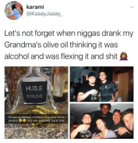 Blackpeopletwitter, Definitely, and Hennessy: karami  @KaaayJaaay_  Let's not forget when niggas drank my  Grandma's olive oil thinking it was  alcohol and was flexing it and shit  HUILE  D'OLIVE  VIERGE  So last somebody mistaken this olive oil for  alcohol  this was definitely full at first <p>We got that new age Hennessy shit 💯 (via /r/BlackPeopleTwitter)</p>