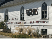 Elf, Funny, and Karate: KARATE  E INGHAM ACAD  F ELF DEFENSE I found Santa's security training program