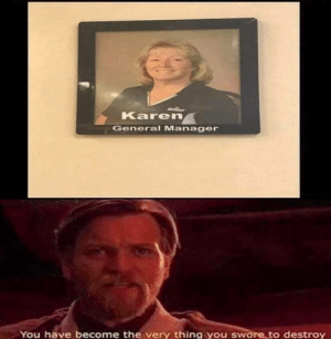 Fiddy Dump: Karen  General Manager  You have become the very thing you swore to destroy Fiddy Dump