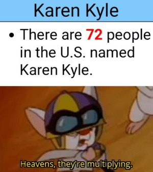 Memes, Tumblr, and Blog: Karen Kyle  There are 72 people  in the U.S. named  Karen Kyle  Heavens, they'remultiplying. memesonthehour:  I'm a bot. I post every hour. Follow for endless memes.