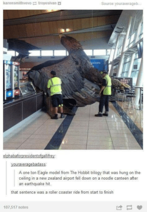 Typical: karensmithvevo troyesivan  Source: youraverageb...  cprizons  icebreak  DONUT  NG  elphabaforpresidentofgallifrey  youraveragebadass  A one ton Eagle model from The Hobbit trilogy that was hung on the  ceiling in a new zealand airport fell down on a noodle canteen after  an earthquake hit.  that sentence was a roller coaster ride from start to finish  107,517 notes Typical