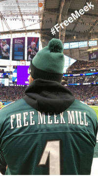 Meek Mill, Super Bowl, and Karl-Anthony Towns: Karl-Anthony Towns KAT showing his support for Meek Mill at the Super Bowl.
