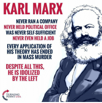 Memes, Office, and Karl Marx: KARL MARX  NEVER RAN A COMPANY  NEVER HELD POLITICAL OFFICE  WAS NEVER SELF SUFFICIENT  NEVER EVEN HELD A JOB  EVERY APPLICATION OF  HIS THEORY HAS ENDED  IN MASS MURDER  DESPITE ALL THIS,  HE IS IDOLIZED  BY THE LEFT  TURNING  POINT USA Why Do They Idolize This Guy?? #CommunismKills