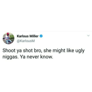 Dank, Memes, and Target: Karlous Miller  @KarlousM  Shoot ya shot bro, she might like ugly  niggas. Ya never know. Beauty is in the Eye of the Beholder by roundhipssinkships FOLLOW HERE 4 MORE MEMES.