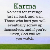 Beautiful Quotes: Karma  No need for revenge  Just sit back and wait  Those who hurt you will  eventually screw up  themselves, and if you're  lucky, God will let  you watch Beautiful Quotes
