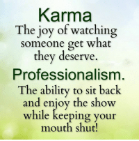 Karma: Karma  The joy of watching  someone get what  they deserve.  Professionalism  The ability to sit back  and enjoy the show  while keeping your  mouth shut!