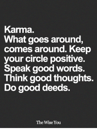 Memes, Good, and Karma: Karma.  What goes around,  comes around. Keep  your circle positive.  Speak good words  Think good thoughts.  Do good deeds  The Wise You <3