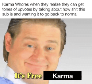 How ironic: Karma Whores when they realize they can get  tones of upvotes by talking about how shit this  sub is and wanting it to go back to normal  Its Free  Karma How ironic