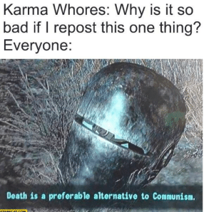 Bad, Reddit, and Death: Karma Whores: Why is it so  bad if I repost this one thing?  Everyone:  Death is a preferable alternative to Communism.  STARECAT COM The one flaw in reddit