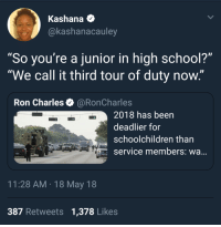 "Blackpeopletwitter, School, and Call of Duty: Kashana +  @kashanacaulev  So you're a junior in high school?  ""We call it third tour of duty now.""  Ron Charles@RonCharles  2018 has been  deadlier for  schoolchildren than  Service members: wa...  11:28 AM 18 May 18  387 Retweets 1,378 Likes <p>Call of Duty: Classroom Warfare (via /r/BlackPeopleTwitter)</p>"
