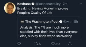 It's all about the Benjamins baby: @kashanacauley · 7m  Kashana  Breaking: Having Money Improves  People's Quality Of Life  wp The Washington Post  @w... · 8h  Analysis: The 1% are much more  satisfied with their lives than everyone  else, survey finds wapo.st/2Nakiqa  2732  242 It's all about the Benjamins baby