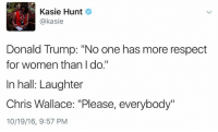 "Memes, Respect, and Say It: Kasie Hunt  akasie  Donald Trump: ""No one has more respect  for women than I do.""  In hall: Laughter  Chris Wallace: ""Please, everybody""  10/19/16, 9:57 PM I laughed too. He says it with such a straight face."