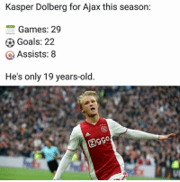 Goals, Memes, and Games: Kasper Dolberg for Ajax this season:  Games: 29  Goals: 22  Q Assists: 8  He's only 19 years-old Talent 🔥