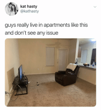 Best, Live, and Dank Memes: kat hasty  @kathasty  guys really live in apartments like this  and don't see any issue Simple is the best way to live