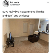 Memes, Live, and 🤖: kat hasty  @kathasty  guys really live in apartments like this  and don't see any issue They are keeping it simple