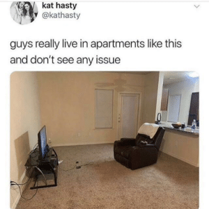 Dank, Memes, and Target: kat hasty  y @kathasty  guys really live in apartments like this  and don't see any issue What is the issue here? by kuba_swieca MORE MEMES