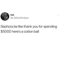 Be Like, Thank You, and Sephora: kat  @LilMissBoojiee  Sephora be like thank you for spending  $5000 here's a cotton ball Saving up my beauty insider points until the end of time