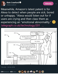 "the-tired-tenor:  tankies:   Me: *crying* Alexa: This seems sad, now playing Despacito : Kate Crawford  @katecrawford  Following  Meanwhile, Amazon's latest patent is for  Alexa to detect when people are sick, bored  or unhappy. ""Alexa would listen out for if  users are crying and then class them as  experiencing an ""emotional abnormality  telegraph.co.uk/technology/201  132  130  Alexa, ""cough I'm hung  sniffle  120  100  Would you lke a recipe for  chicken soup?  No, thanks  134  Ok, I can find you something  else. By the way, would you like  o order cough drops with 1 hour  delivery?  That wouki be awesome  Thanks for asking!  110  No probiem. Pil email you an  order confirmation. Feel better!  7:54 AM 10 Oct 2018  570 Retweets 655 Likes the-tired-tenor:  tankies:   Me: *crying* Alexa: This seems sad, now playing Despacito"