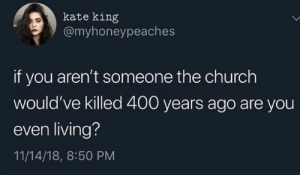 elidyce:Well, they probably would have tried.: kate king  @myhoneypeaches  if you aren't someone the church  would've killed 400 years ago are you  even living?  11/14/18, 8:50 PM elidyce:Well, they probably would have tried.