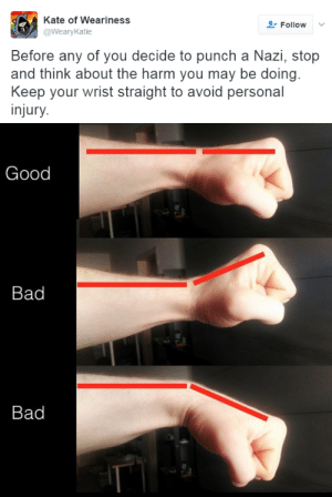 likeheaven:  nevaehtyler: A useful tip.  also, twist and step into the punch- start with your first thumb up, then as you push it forward twist it to thumb down. also, step into the punch- it'll increase the force  as someone who knows some judo, krav maga, and has been in fights it's VERY important to have proper form when attacking a nazi. you don't want to hurt yourself. : Kate of Weariness  @WearyKatie  Follow  Before any of you decide to punch a Nazi, stop  and think about the harm you may be doing  Keep your wrist straight to avoid personal  injury   Good  Bad  Bad likeheaven:  nevaehtyler: A useful tip.  also, twist and step into the punch- start with your first thumb up, then as you push it forward twist it to thumb down. also, step into the punch- it'll increase the force  as someone who knows some judo, krav maga, and has been in fights it's VERY important to have proper form when attacking a nazi. you don't want to hurt yourself.