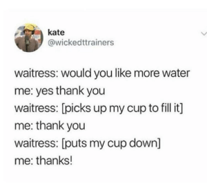 Canadian spies: kate  @wickedttrainers  waitress: would you like more water  me: yes thank you  waitress: [picks up my cup to fill it]  me: thank you  waitress: [puts my cup down]  me: thanks! Canadian spies
